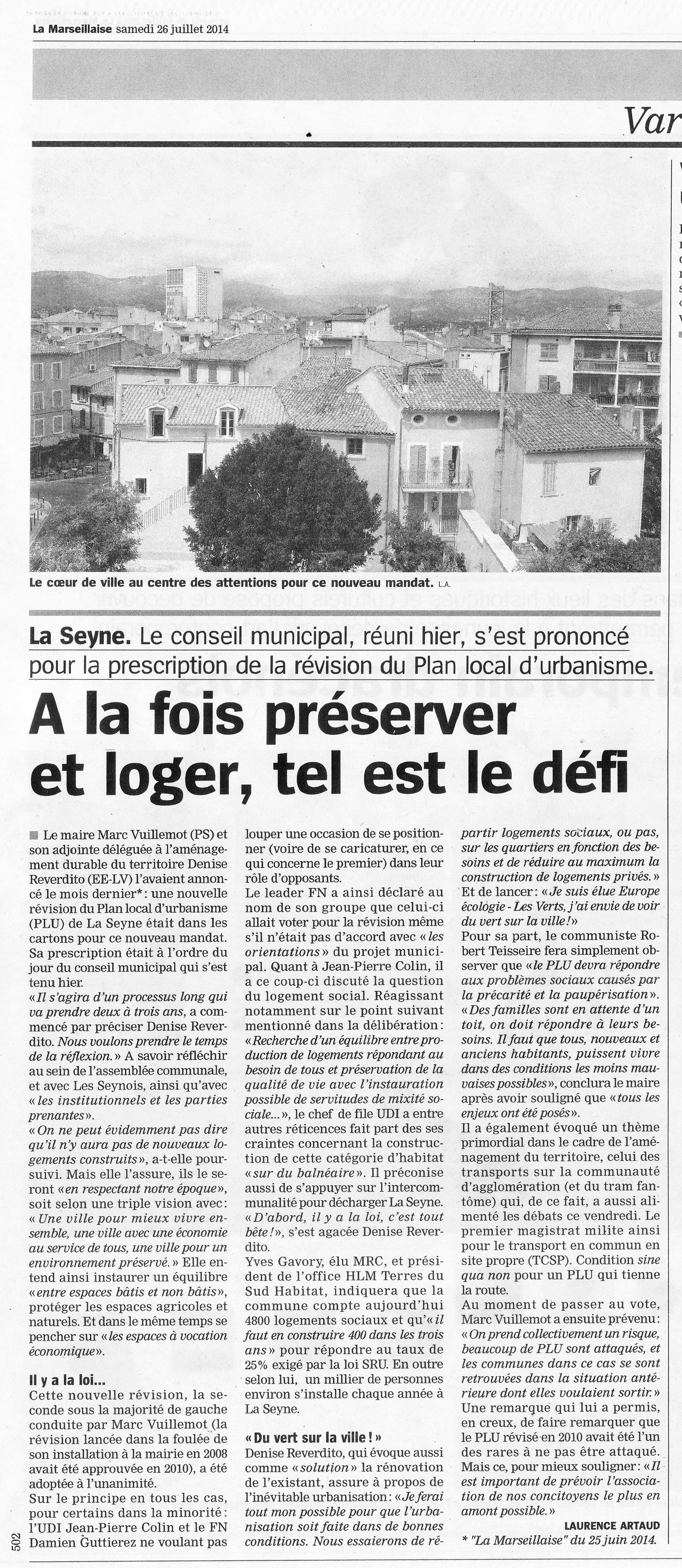 2014 06 25 MARSEILLAISE Révision PLU La Seyne